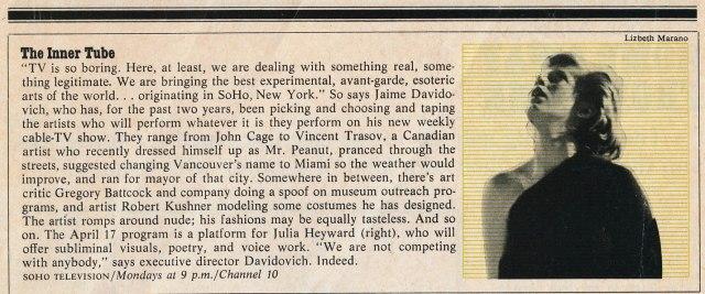 Soho Television in New York Magazine with photo of Julia Heyward.